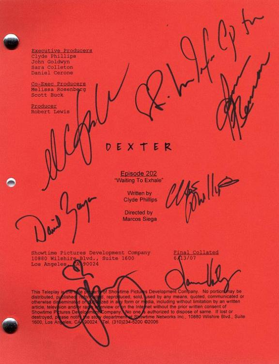 Bones script signed by Emily Deschanel & David Boreanaz