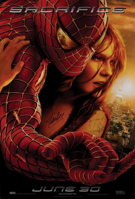 Spider-Man 2 poster signed by Stan Lee & Kirsten Dunst