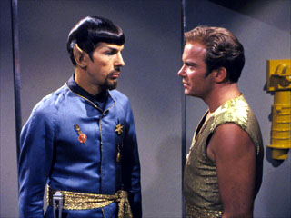 Alternate Captain Kirk and Spock in Mirror Mirror.