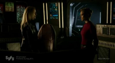 Dark Matter S2x05 The Android gets lectured by her computer alter ego projection