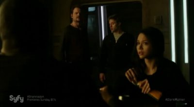Dark Matter S2x05 The Raza crew conduct an after action debriefing