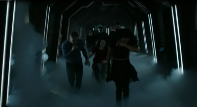 Dark Matter S2x10 Crew escaping to the Marauder
