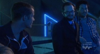 Eureka S5x08 - Fargo Jack and Zane smile over Feinman's day