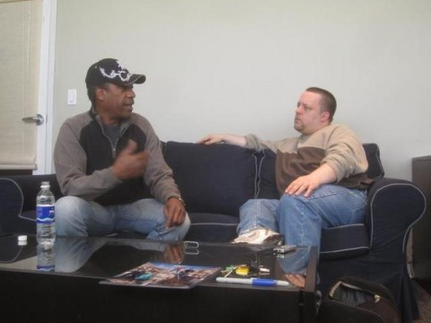 Joe Morton and Chad Colivin Eureka during set visit