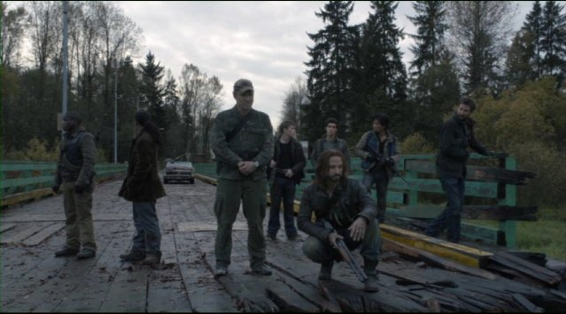 Falling Skies S2x01 The Resistance members on the river bridge