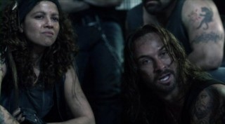 Falling Skies S2x03 - Luciana Carro as Crazy Lee watches Pope give lip to Tom Mason