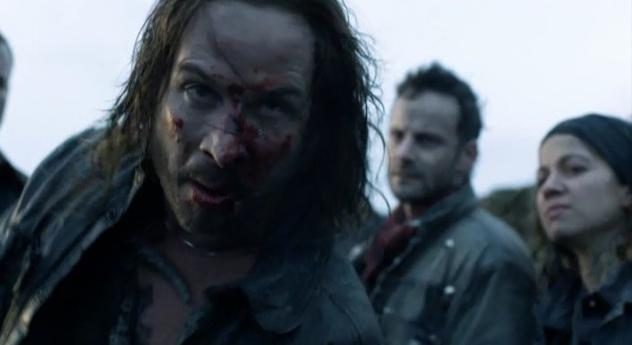 Falling Skies S2x03  - Tom has beaten the dickens of of Pope!