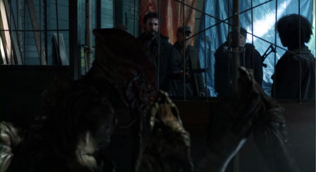 Falling Skies S2x05 Weaver talking to skitter