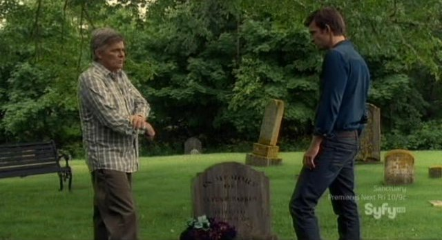 Haven S2x12 - Chief and Nathan Wuornos at the cemetary