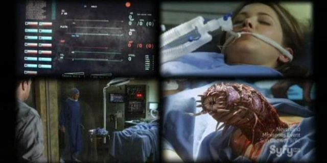 Sanctuary S4x08 - Abby flatlines, the abnormal comes out of her body