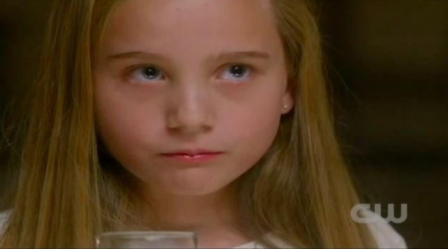 Supernatural S7x13 - Approximately nine year old Emma after eating human male flesh