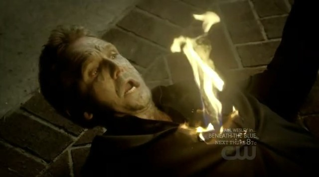 The Vampire Diaries 3x09 - Mikael burning to death by the white oak three