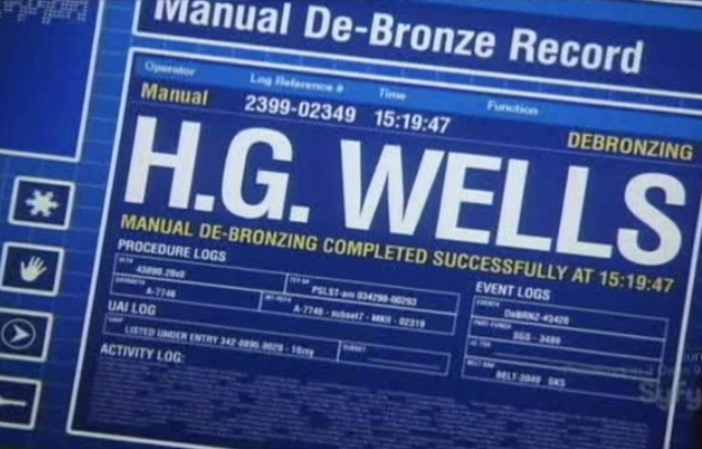 Warehouse 13 S2x01 - HG Wells has been de-bronzed according to the computer screen