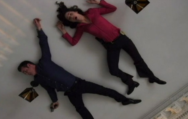 Warehouse 13 S2x01 - Pete and Myka on the ceiling