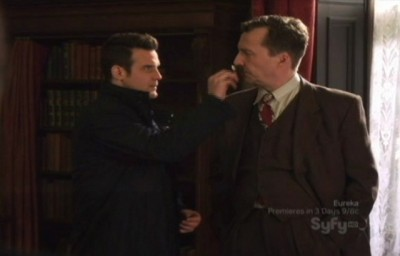 Warehouse 13 S2x01 - Pete puts HG Wells mustache