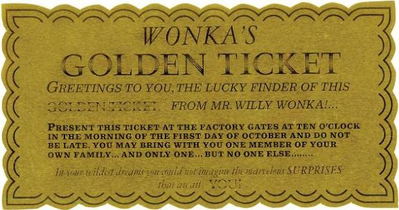 Screen-used Golden Ticket Willy Wonka & Chocolate Factory