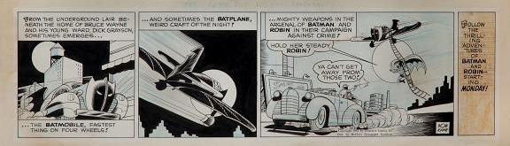 Batman comic strip original art by Bob Kane 1943