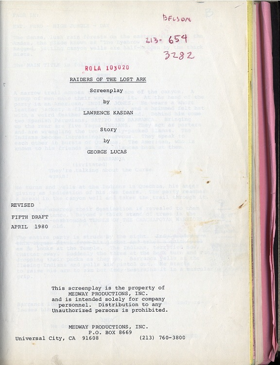 Harrison Ford Raiders of the Lost Ark annotated script