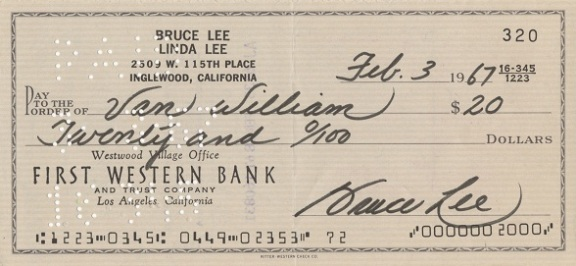 Bruce Lee signed check to The Green Hornet Van Williams