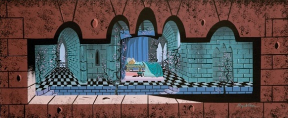 Eyvind Earle original concept artwork from Sleeping Beauty