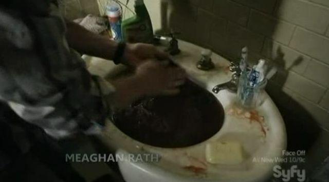 Josh washing bloody clothes