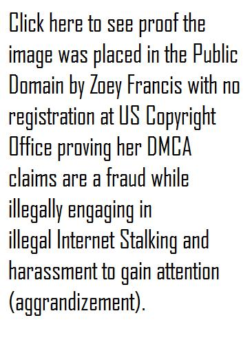 Click to see proof that Zen4Zoey aka Zoey Francis place the image in the Public Domain documenting her DMCA claim is a fraud while engaing in in illegal Internet Stalking harassment on more than one occassion
