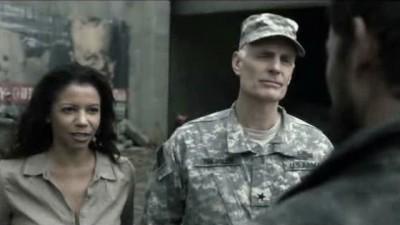 Falling Skies S3x01 - Matt Frewer as general Bressler and Gloria Rueben as Marina Tom Masons Chief of Staff