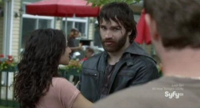 Being Human S3x02 - Bearded Aidan is picked up by Josh and Sally
