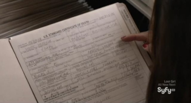 Being Human S3x04 - Sally is looking at death certificates to get a social security number