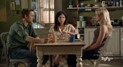 Being Human S3x05 - Three quarters of the gang in the kitchen munching waffles