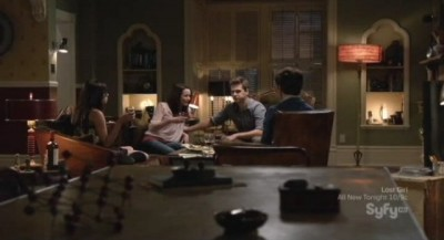 Being Human S3x05 - After dinner in the living room sipping wine