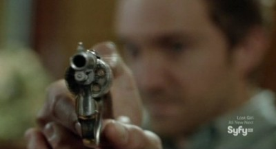 Being Human S3x05 - Josh points a revolver at Liam
