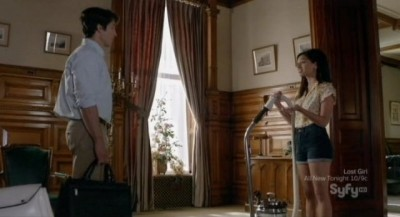 Being Human S3x05 - Sally is vacuuming the funeral home as Max enters