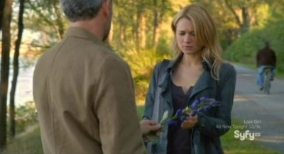 Being Human S3x08 - Liam hands a purple tulip to Nora