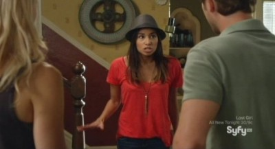 Being Human S3x08 - Sally comes down stairs  wearing a cute hat