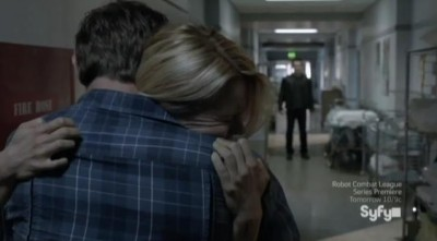 Being Human S3x07 - Josh and Nora hugs with Aidan in the distance