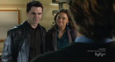 Being Human S3x10 - Kat and Aidan do not like the rude Professor Westin