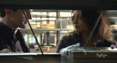 Being Human S3x10 - Kat takes Aidan to a rare historical book on the shelf