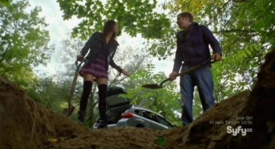 Being Human S3x10 - Sally in colorful costume as Josh helps her bury Nick