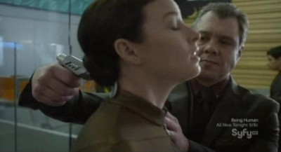 Continuum S1x02 - Kiera is injected with the liquid CMS technology