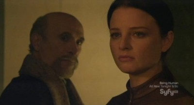 Continuum S1x10 - Kagame gloats at Kiera who is shocked and in horror as the building collapses