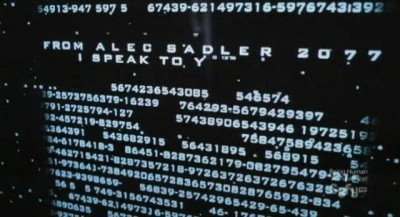 Continuum S1x10 - Young Alec enters the Theseus password to read the e-mail from the future