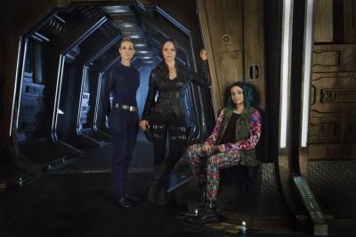 Dark Matter female stars Zoie Palmer, Mellisa O'Neill and Jodelle Ferland
