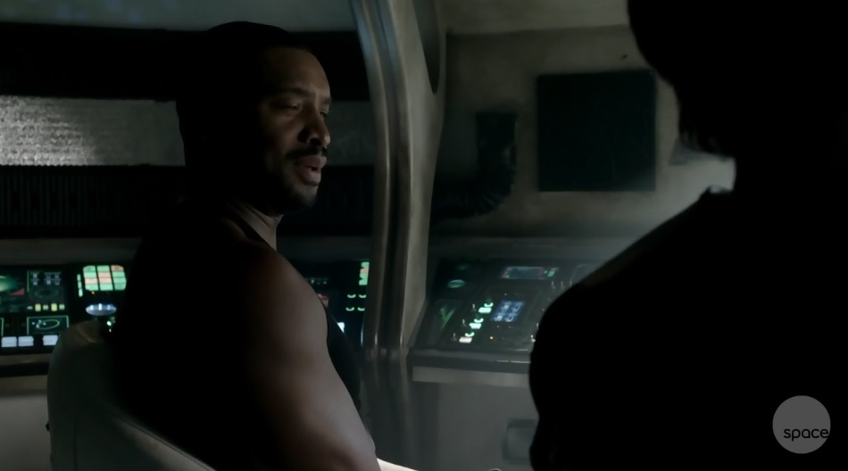 Dark Matter S01x02 Three and Six in the shuttle