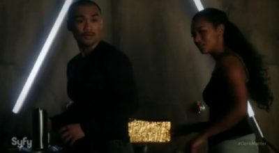 Dark Matter S2x09 Four and Nyx are startled by Three