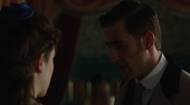 DraculaS1x05 Harker and Mina disagree about disinvited people