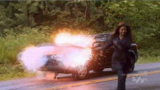 Allison escapes her exploding car