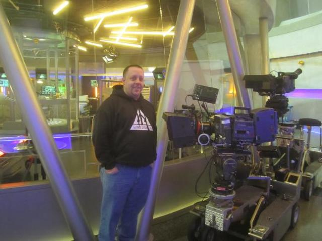 Chad Colvin with cameras Eureka set visit