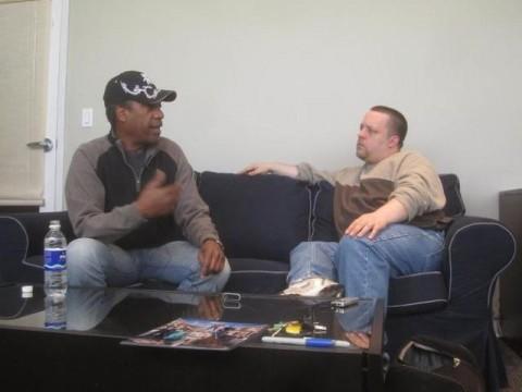 Joe Morton and Chad Colivin Eureka during set visit