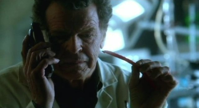Fringe S4x06 - Walter contemplates time shifts with a Red Vine